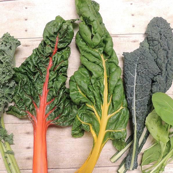 Green veggies on a chopping block